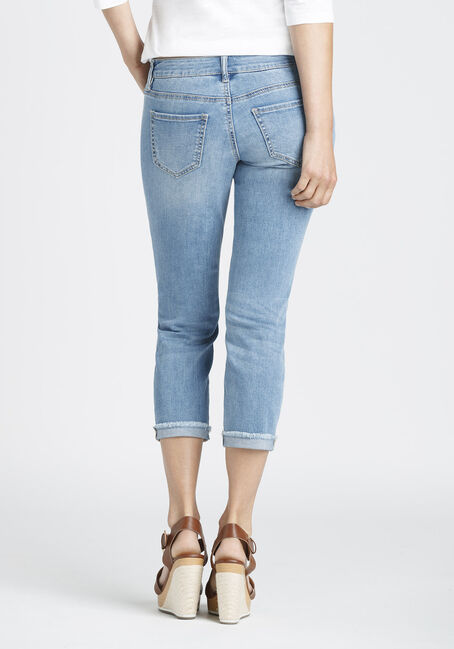 Ladies' Destroyed Slim Capri, LIGHT VINTAGE WASH, hi-res