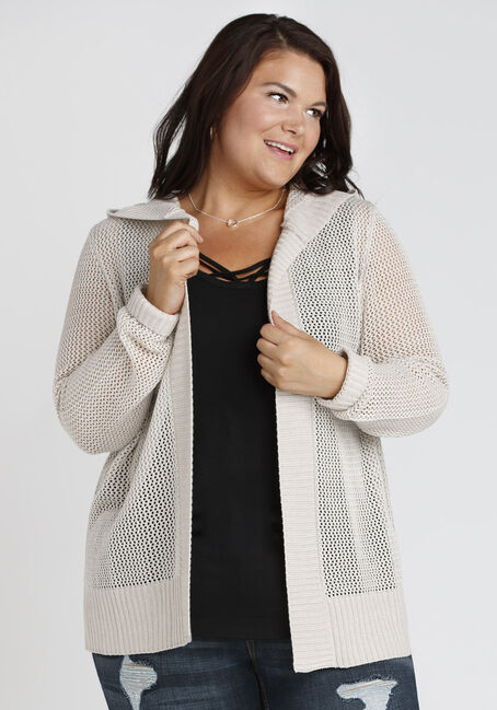 Ladies' Hooded Mesh Cardigan, OATMEAL, hi-res