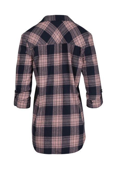 Ladies' Flannel Boyfriend Shirt, PINK, hi-res