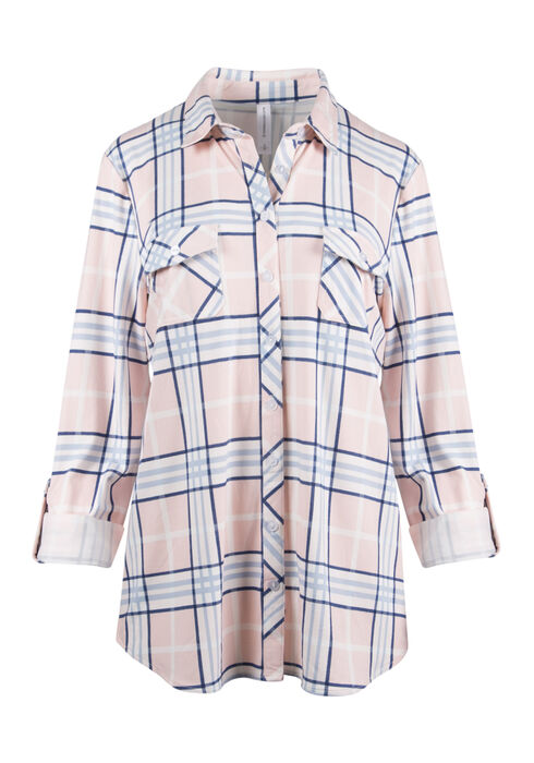 Ladies' Relaxed Fit Knit Plaid Shirt, ROSEWATER, hi-res