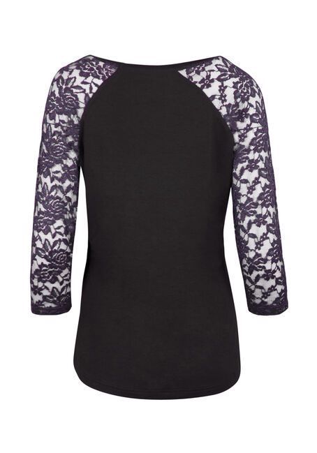 Ladies' Lace Baseball Tee, BLACK/ IRIS, hi-res