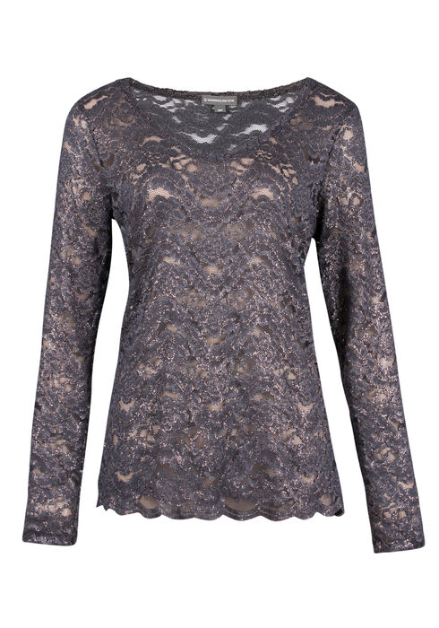 Ladies' Shimmer Lace Top, GREY, hi-res