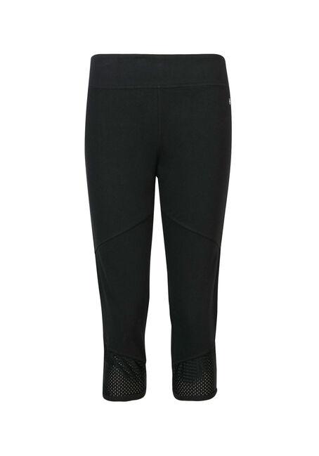 Ladies' Mesh Insert Capri Legging, BLACK, hi-res
