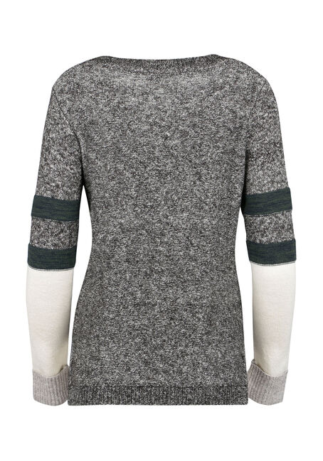 Ladies' Colour Block Cable Knit Sweater, MULTI, hi-res