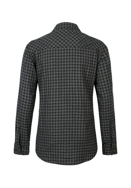 Men's Gingham Flannel Shirt, BLACK, hi-res