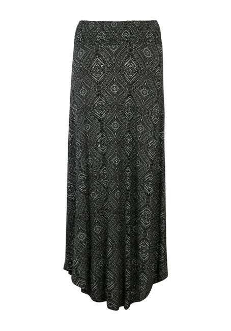 Ladies' Geo Pattern Maxi Skirt, BLK/WHT, hi-res