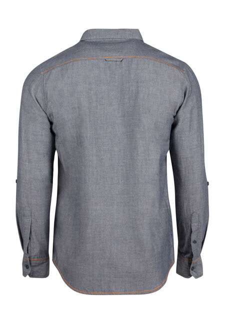 Men's Textured Roll Sleeve Shirt, BLUE, hi-res