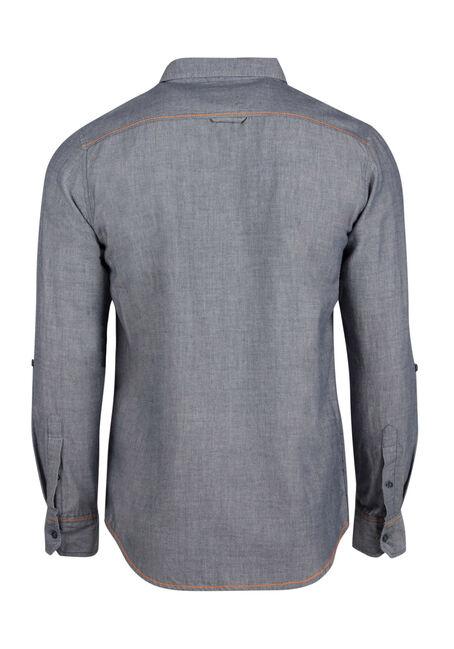 Men's Textured Roll Sleeve Shirt, BLUE, hi-res