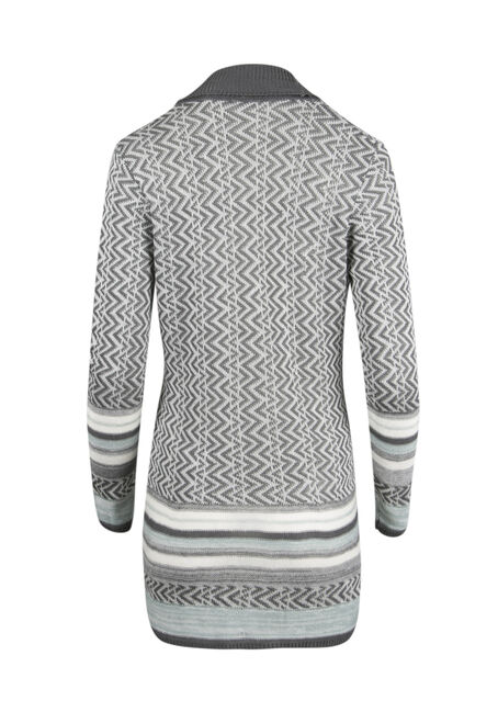 Ladies' Chevron Cardigan, GREY, hi-res