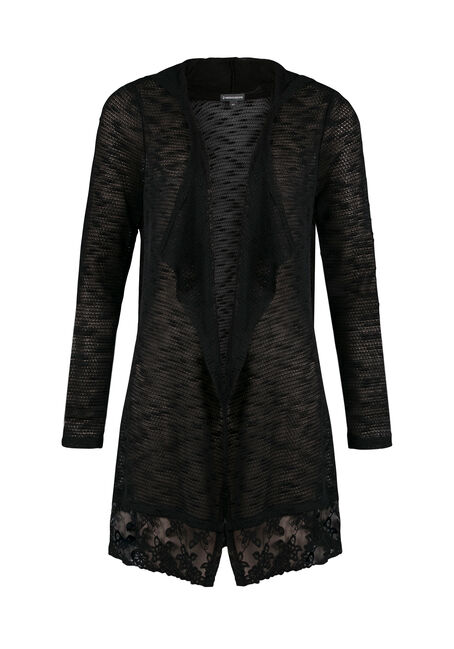 Ladies' Lace Hem Open Cardigan, BLACK, hi-res