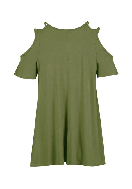Ladies' Strappy Cold Shoulder, OLIVE, hi-res