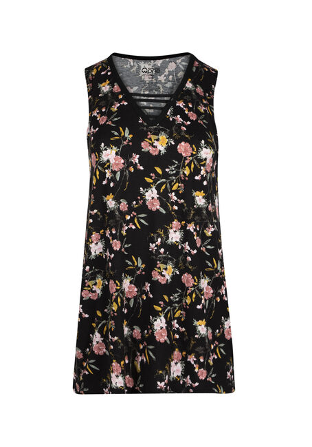 Ladies' Floral Cage Neck Tank