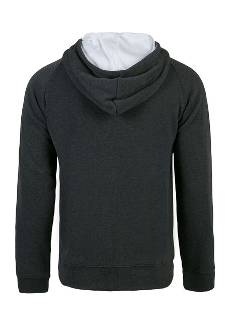 Men's Athletic Zip Front Hoodie, Charcoal, hi-res