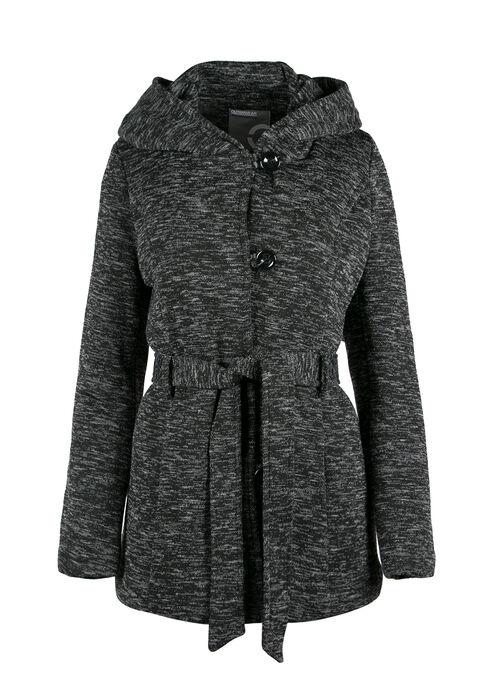 Ladies' Hooded Knit Jacket, CHARCOAL, hi-res