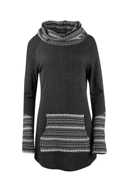 Ladies' Contrast Knit Tunic Top, CHARCOAL, hi-res