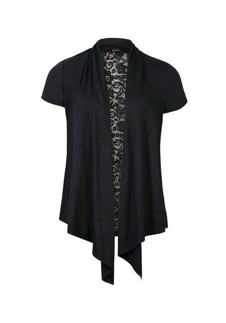 Ladies' Drapey Lace Back Cardigan, BLACK, hi-res