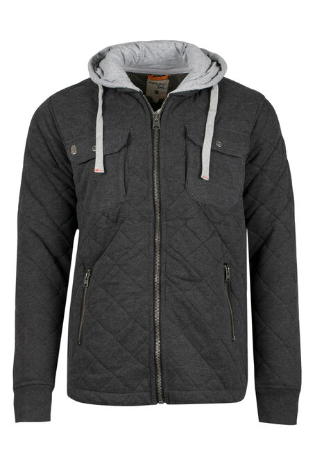 Men's Quilted Jacket, CHARCOAL, hi-res