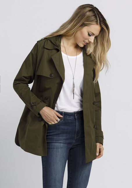 Ladies' Hooded Trench Coat, OLIVE, hi-res