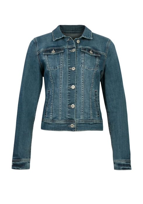 Ladies' Jacquard Insert Jean Jacket, DENIM, hi-res