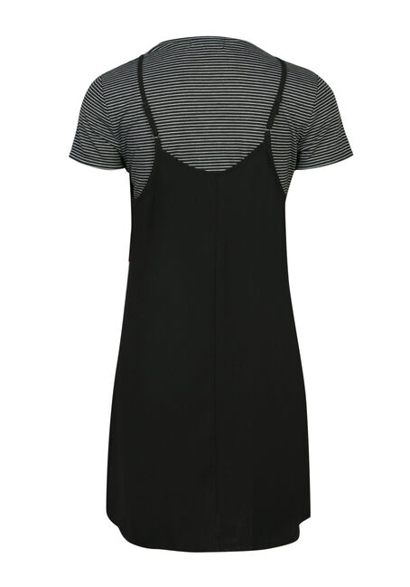 Ladies' Slip Dress & Tee Combo, BLACK, hi-res