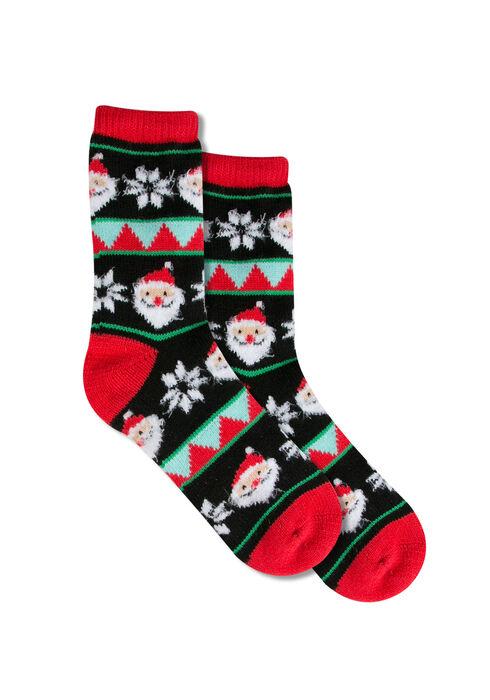 Ladies' Santa Holiday Socks, RED, hi-res