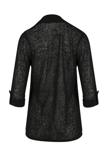 Ladies' Crochet Trim Cardigan, BLACK, hi-res