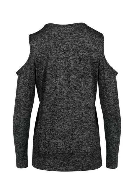 Ladies' Cold Shoulder Top, BLACK, hi-res