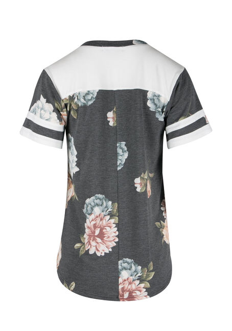 Ladies' Floral Colour Block Tee, CHARCOAL, hi-res