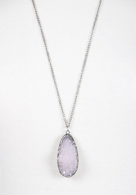 Ladies' Faux Gemstone Necklace, RHODIUM, hi-res