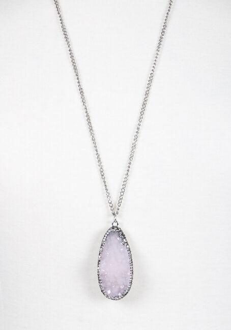 Ladies' Faux Gemstone Necklace, RHODIUM, hi-res