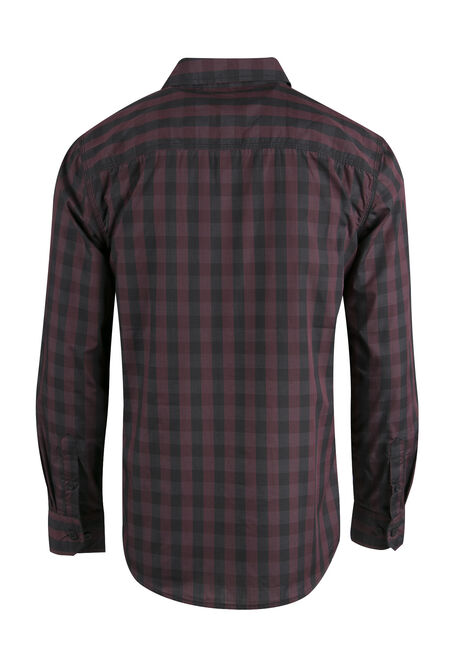 Men's Buffalo Plaid Shirt, BURGUNDY, hi-res
