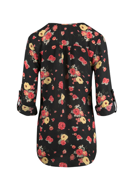 Ladies' Floral Pleat Front Top, BLACK, hi-res