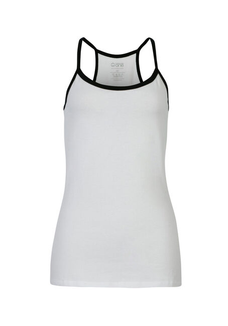 Ladies' Strappy Racerback Tank, WHITE, hi-res
