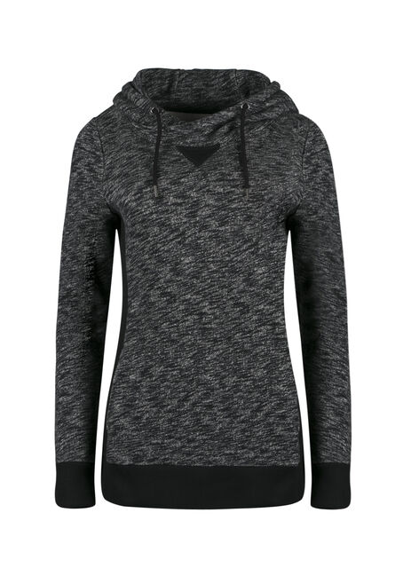 Ladies' Textured Popover Hoodie, CHARCOAL/BLACK, hi-res