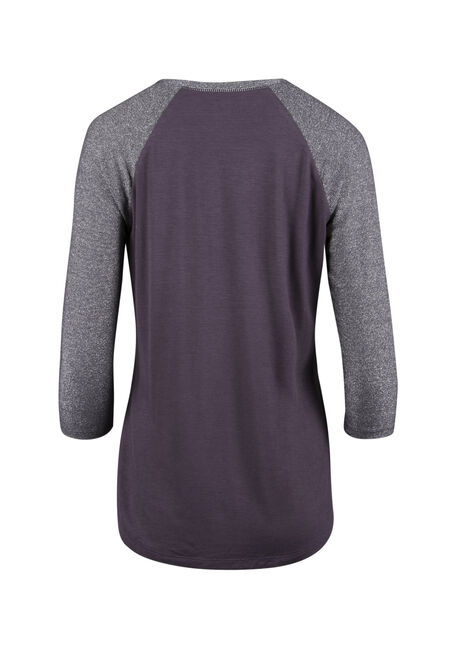 Ladies' Shimmer Baseball Tee, SHADOW PURPLE, hi-res