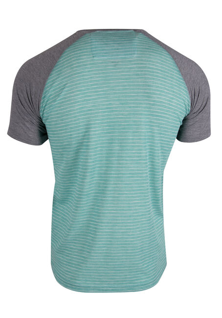 Men's Striped Henley Tee, SEA OF GREEN, hi-res