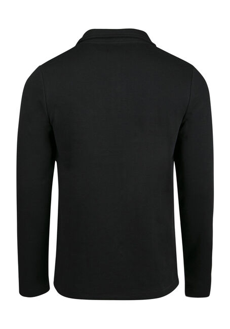 Men's 1/4 Zip Rib Knit Top, BLACK, hi-res