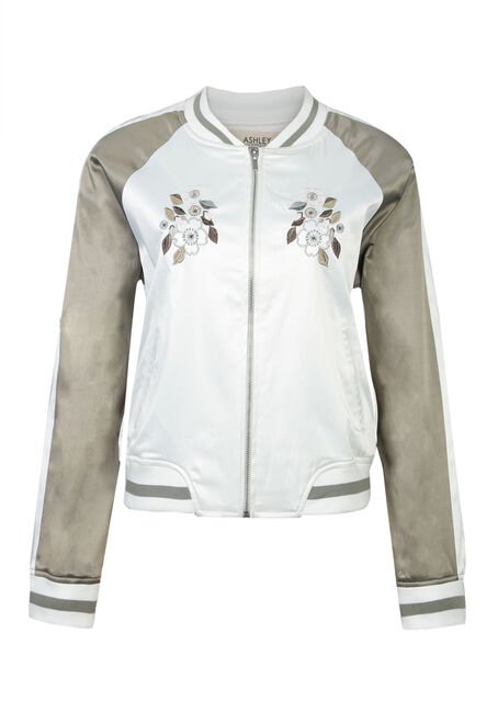 Ladies' Embroidered Bomber Jacket, CREAM/ D. SAGE, hi-res
