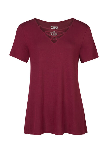Ladies' Cage Front Tee, ROSE BUD, hi-res