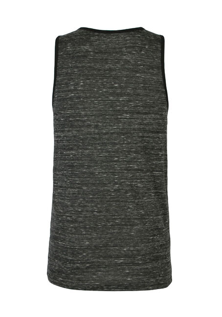 Men's Space Dye Ringer Tank, BLACK, hi-res