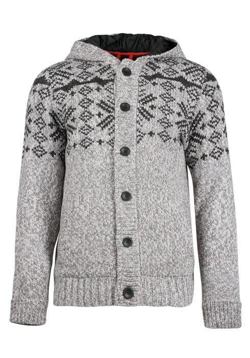 Men's Nordic Sweater Jacket, CHARCOAL, hi-res