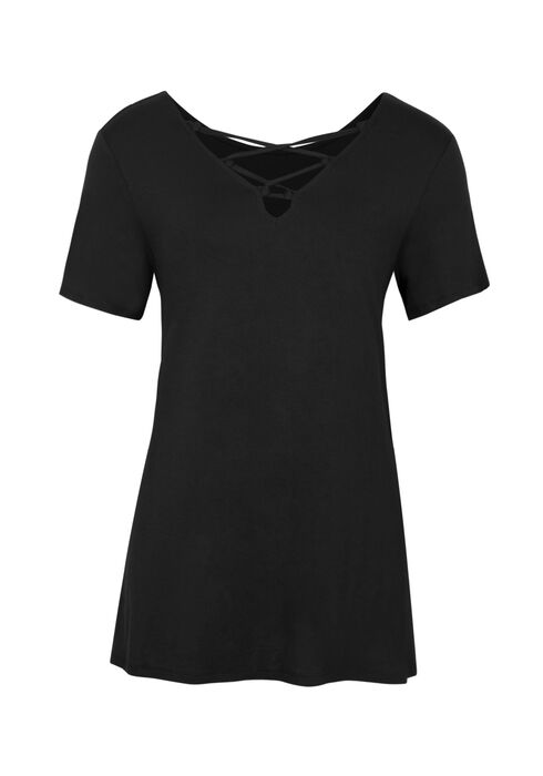 Ladies' Cage Front Tee, BLACK, hi-res