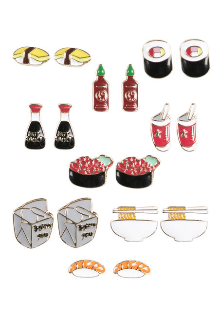 Ladies' Sushi Earring Set, RED, hi-res
