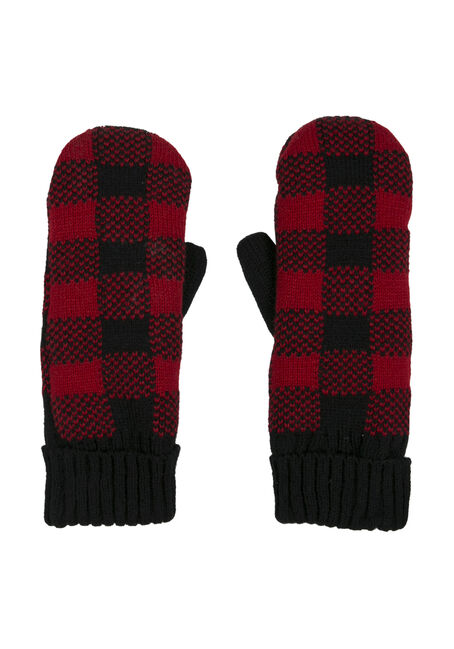 Ladies' Cabin Mittens, RED, hi-res