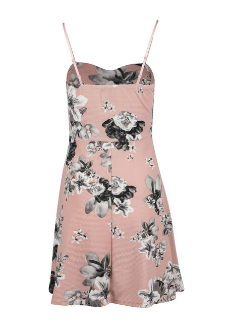Ladies' Floral Strappy Fit & Flare Dress, DUSTY ROSE, hi-res