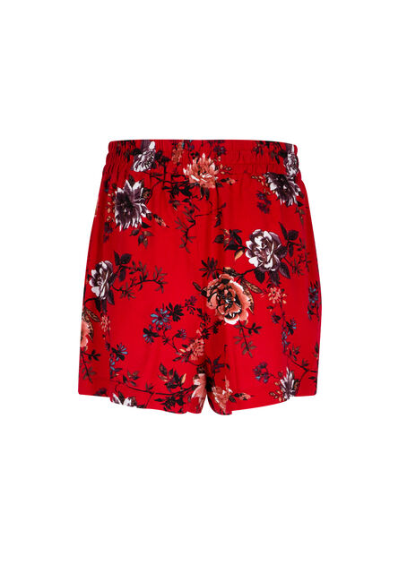 Ladies' Floral Soft Short, RED, hi-res