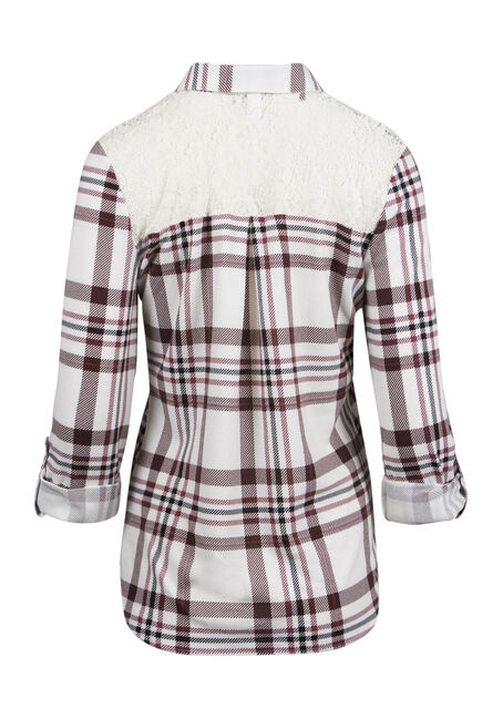 Ladies' Lace Trim Plaid Shirt, WINE/IVORY, hi-res