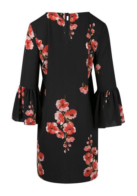 Ladies' Floral Bell Sleeve Dress, BLACK, hi-res