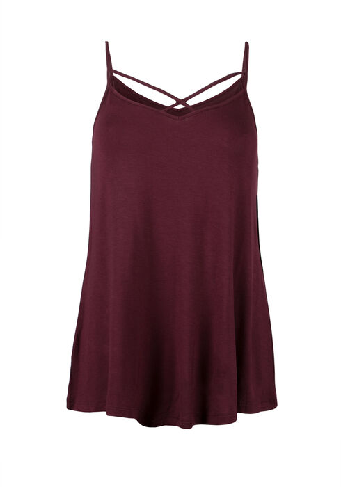 Ladies' Cage Front Strappy Tank, MULBERRY, hi-res