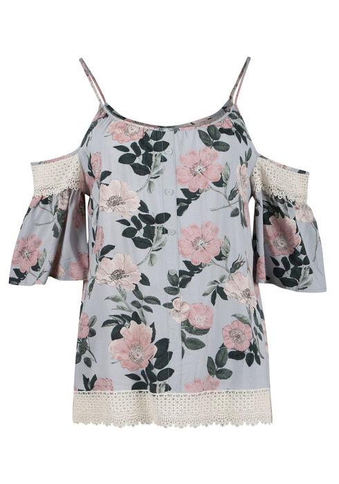 Ladies' Floral Cold Shoulder Top, MEADOW GREEN, hi-res